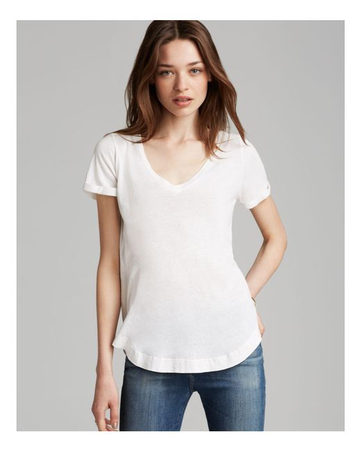 Splendid | White Tee - Rolled Sleeve Circle Hem | Lyst