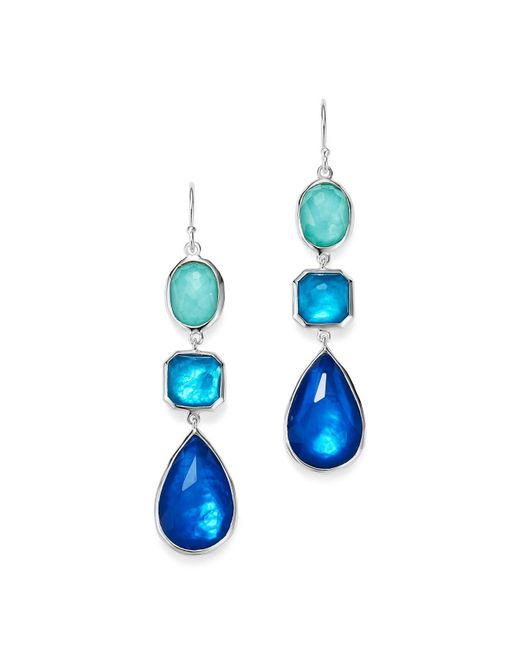 Ippolita | Blue Sterling Silver Rock Candy® Wonderland Mother-of-pearl And Clear Quartz Triple Doublet Linear Drop Earrings | Lyst