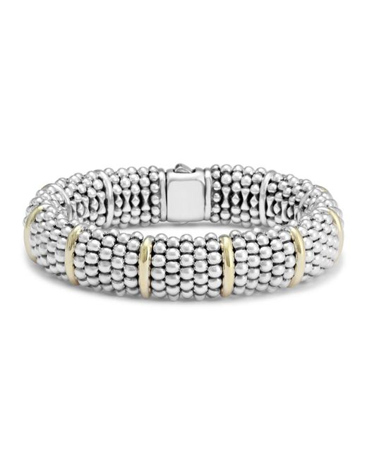 Lagos - Metallic Sterling Silver Signature Caviar Bracelet With 18k Yellow Gold Stations - Lyst