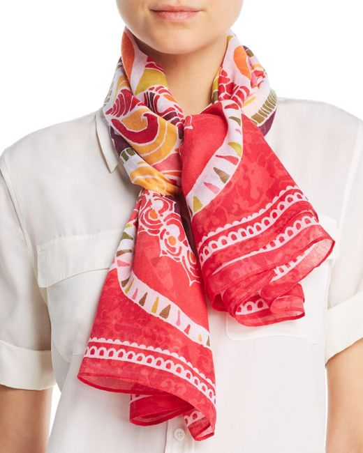 Fraas - Pink Floral Medallion Print Square Scarf - Lyst