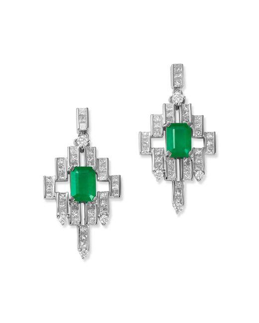 Bloomingdale's - Multicolor Emerald & Diamond Deco Drop Earrings In 14k White Gold - Lyst