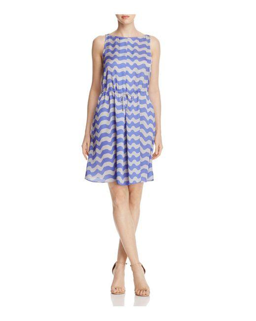 Armani - Blue Wave-print Dress - Lyst