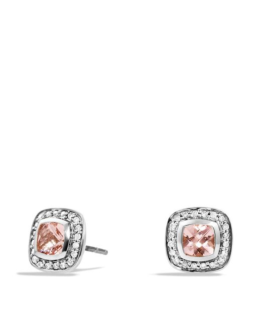 David Yurman | Metallic Petite Albion Earrings With Morganite And Diamonds | Lyst
