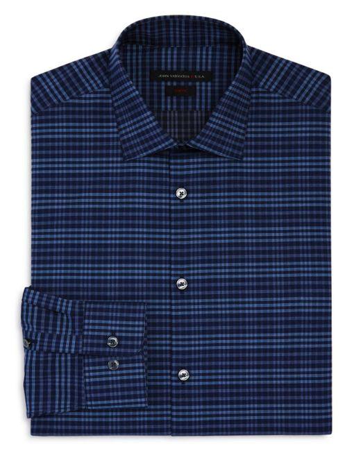 John Varvatos - Blue Check Slim Fit Stretch Dress Shirt for Men - Lyst