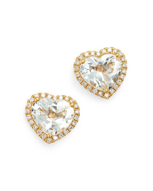 Kiki McDonough - Metallic 18k Yellow Gold Grace White Topaz & Diamond Heart Earrings - Lyst