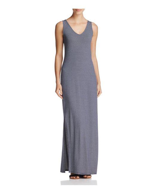 Three Dots | Purple Sleeveless Stripe Maxi Dress | Lyst