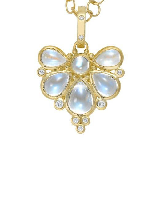 Temple St. Clair   18k Yellow Gold Wing Pendant With Royal Blue Moonstone And Diamonds   Lyst