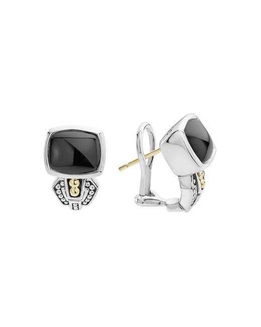 Lagos - Metallic 18k Gold And Sterling Silver Caviar Color Onyx Huggie Drop Earrings - Lyst