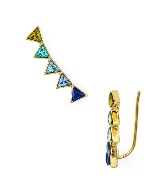 Rebecca Minkoff - Blue Triangle Climber Earrings - Lyst