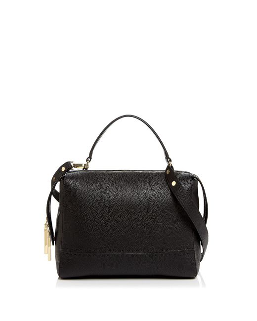 MILLY | Black Astor Large Leather Satchel | Lyst
