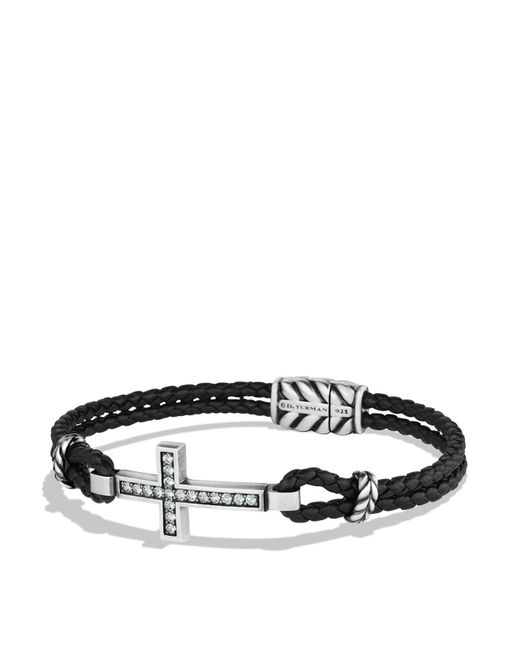 David Yurman | Black Cross Bracelet With Gray Sapphires And Blue Lace Agate | Lyst