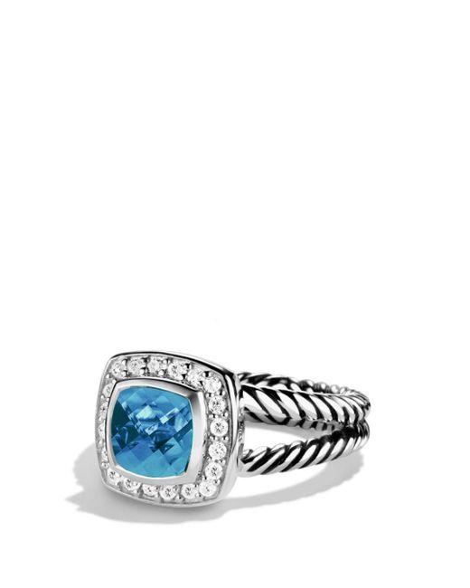 David Yurman - Petite Albion Ring With Hampton Blue Topaz & Diamonds - Lyst