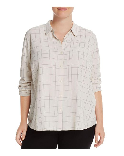 Eileen Fisher   White Check Print Collared Shirt   Lyst