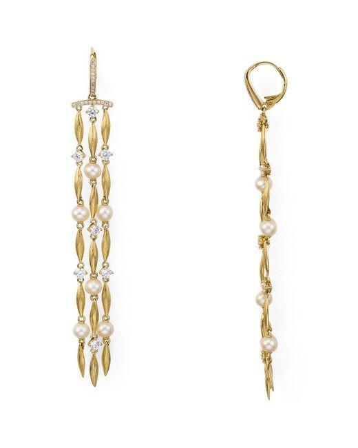 Nadri - Metallic Lanai Long Fringe Earrings - Lyst