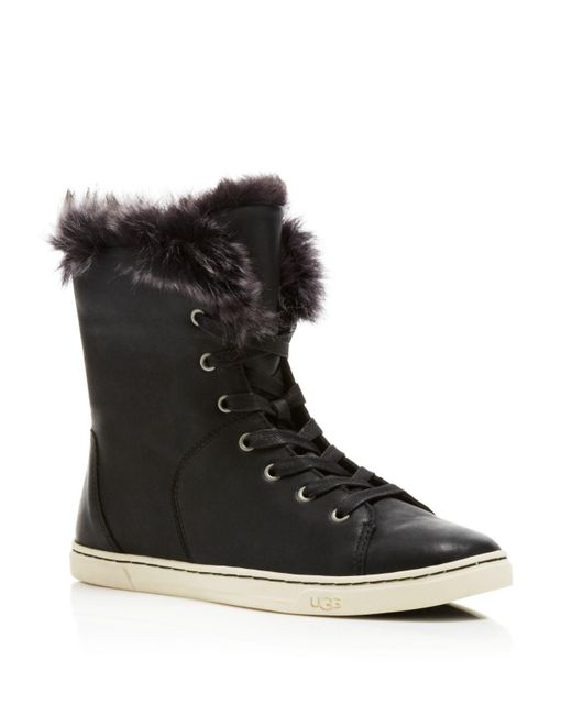Ugg | Black Croft Fur Lined Trainers | Lyst