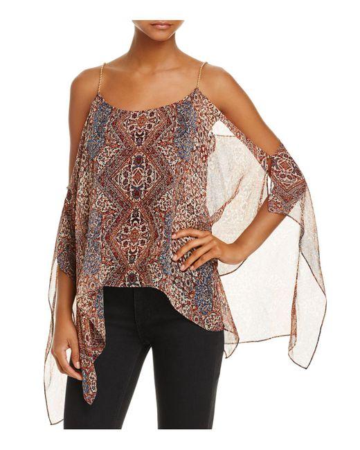 Ella Moss   Natural Casablanca Convertible Cold-shoulder Silk Top   Lyst