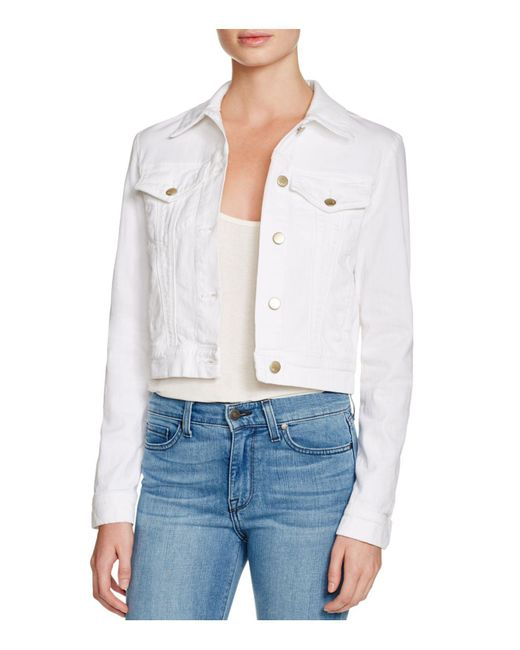 J Brand - Harlow Trucker Denim Jacket In White - Lyst