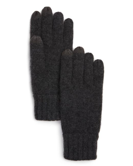 Bloomingdale's - Gray Knitted Tech Gloves for Men - Lyst