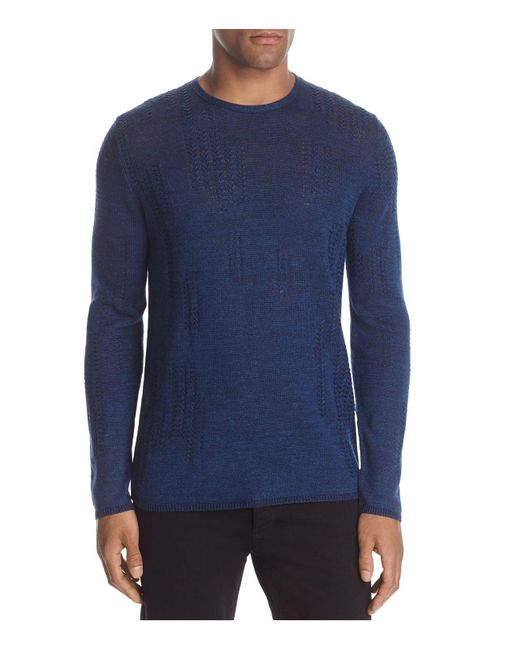 John Varvatos - Blue Stitched Crewneck Sweater for Men - Lyst