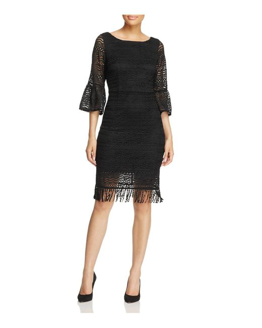 Adrianna Papell | Black Julia Fringe Lace Sheath Dress | Lyst