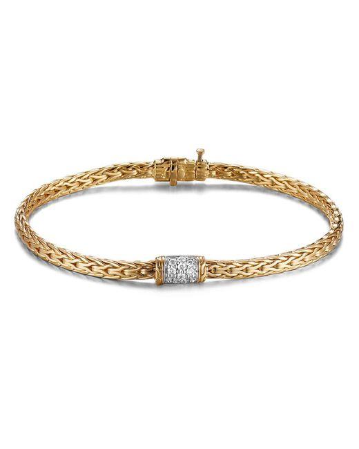 John Hardy | Metallic Classic Chain 18k Gold Mini Bracelet With Diamond Pave | Lyst