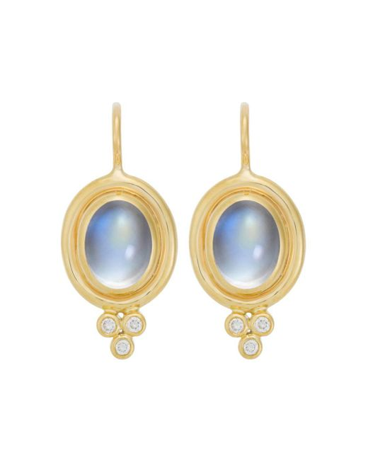 Temple St. Clair - 18k Yellow Gold Classic Oval Earrings With Cabochon Royal Blue Moonstone And Diamond Granulation - Lyst