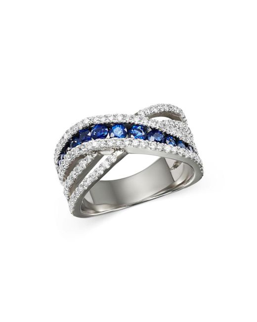 Bloomingdale's - Multicolor Blue Sapphire & Diamond Crossover Ring In 14k White Gold - Lyst