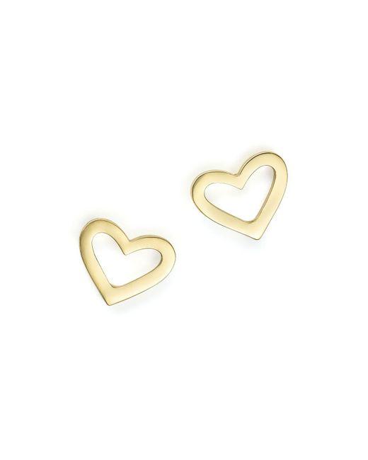 Roberto Coin | Metallic 18k Yellow Gold Heart Earrings | Lyst
