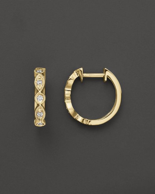 KC Designs | White Bezel Set Diamond Hoops In 14k Yellow Gold, .12 Ct. T.w. - 100% Exclusive | Lyst