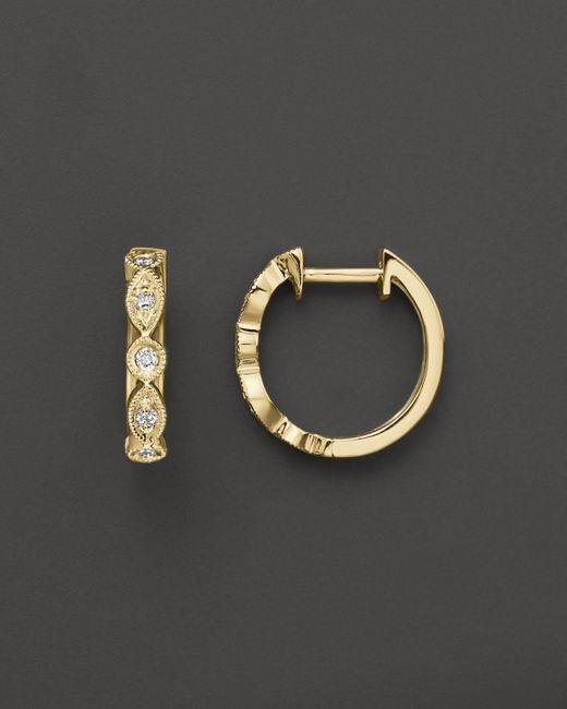 KC Designs | White Bezel Set Diamond Hoops In 14k Yellow Gold, .12 Ct. T.w. | Lyst