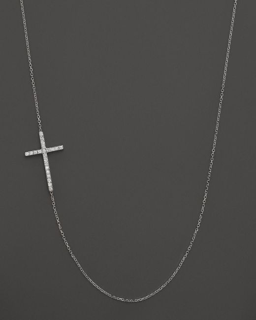 KC Designs | Diamond Side Cross Necklace In 14k White Gold, .19 Ct. T.w. - 100% Exclusive | Lyst