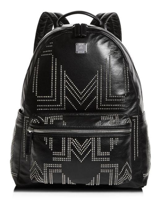 5ab8bb337088 MCM - Black Rebel Tumbler Medium Studded Leather Backpack for Men - Lyst ...