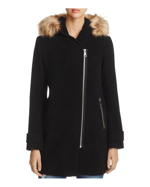 Marc New York - Black Paloma Faux Fur Trim Coat - Lyst