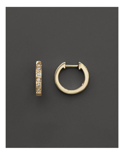 KC Designs - Metallic Diamond Mini Hoops In 14k Yellow Gold - Lyst
