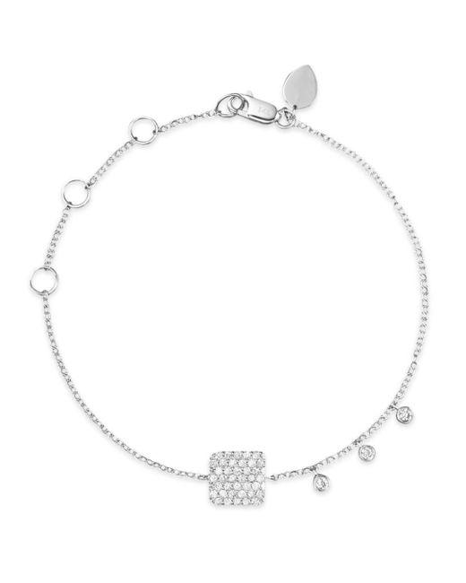 Meira T - 14k White Gold Pavé Diamond Square Bracelet - Lyst