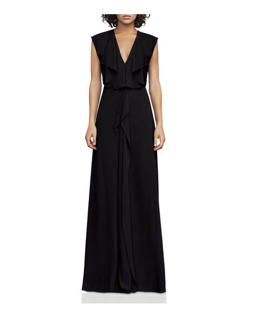 BCBGMAXAZRIA | Black V-neck Draped Gown | Lyst