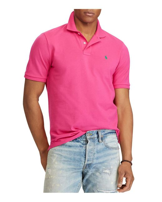 Polo Ralph Lauren - Pink Classic Fit Stretch Mesh Polo Shirt for Men - Lyst
