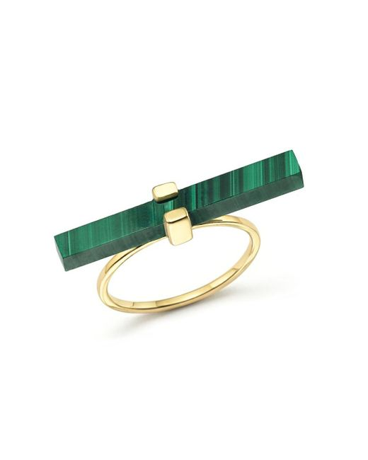 Mateo - Green 14k Yellow Gold Cross Bar Ring With Malachite - Lyst