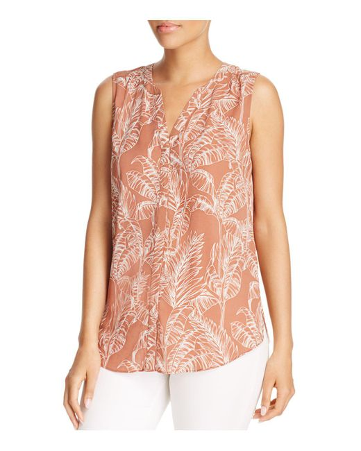 NYDJ   Pink Sleeveless Print Pintuck-back Blouse   Lyst