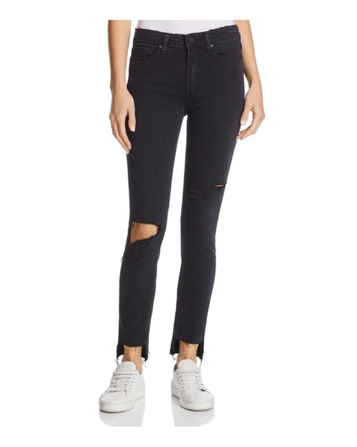 PAIGE - Hoxton Step-hem Skinny Ankle Jeans In Black Sky Destructed - Lyst