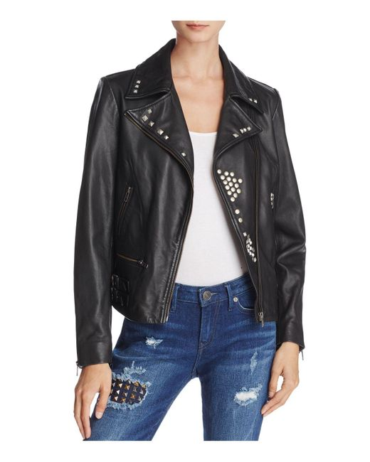 True Religion - Black Studded Leather Jacket - Lyst