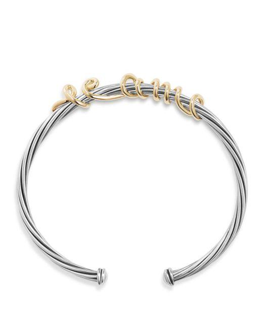 David Yurman - Metallic Dy Whispers Te Amo Cuff Bracelet - Lyst