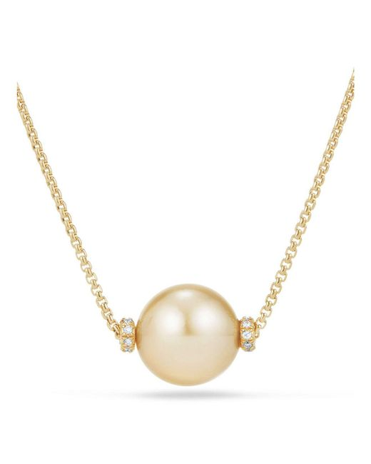 David Yurman - Metallic Solari Single Station Necklace In 18k Gold With Diamonds And South Sea Yellow Cultured Pearl - Lyst