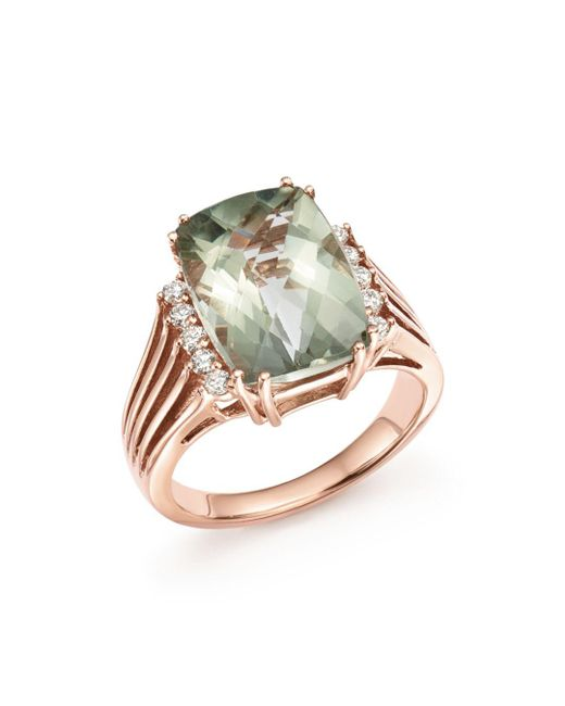 Bloomingdale's - Green Amethyst And Diamond Statement Ring In 14k Rose Gold - Lyst