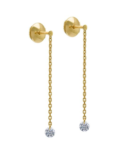 La Brune Et La Blonde   Metallic 18k Yellow Gold Majorette Diamond Drop Earrings   Lyst