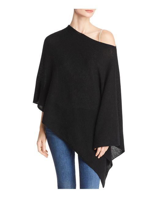 C By Bloomingdale's - Black One-shoulder Lightweight Cashmere Poncho - Lyst