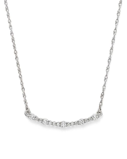 Bloomingdale's - Diamond Curved Bar Necklace In 14k White Gold, .30 Ct. T.w. - Lyst
