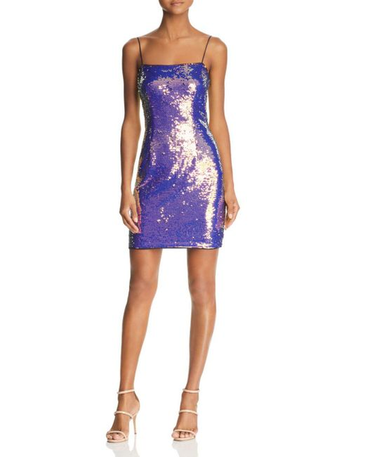 Aidan By Aidan Mattox - Blue Sequined Mini Dress - Lyst