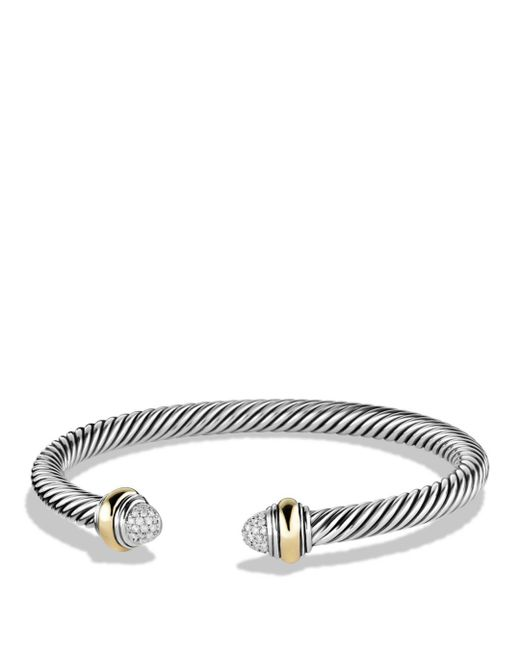 David Yurman - Metallic Cable Classics Bracelet With Diamonds And Gold - Lyst