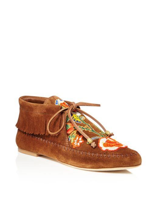 Tory Burch   Brown Huntington Bead Embroidered Fringe Booties   Lyst